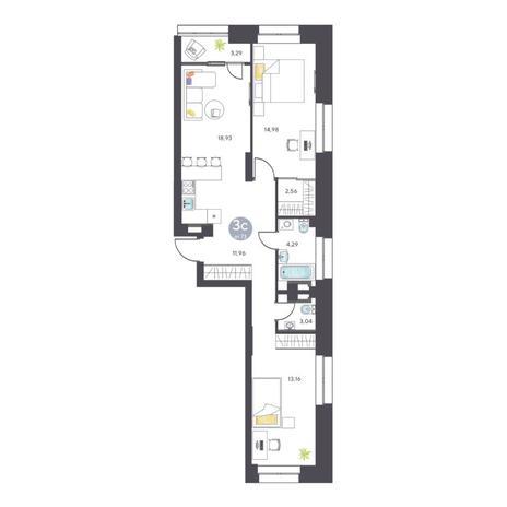Вариант №5125, 3-комнатная квартира в жилом комплексе