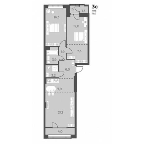 Вариант №5816, 2-комнатная квартира в жилом комплексе
