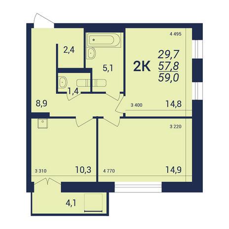Вариант №3915, 2-комнатная квартира в жилом комплексе NOVA-дом