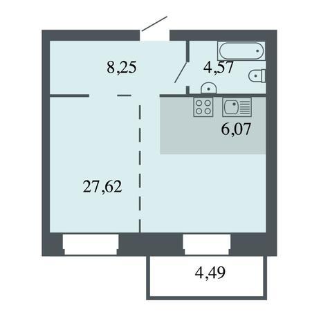 Вариант №4450, 2-комнатная квартира в жилом комплексе