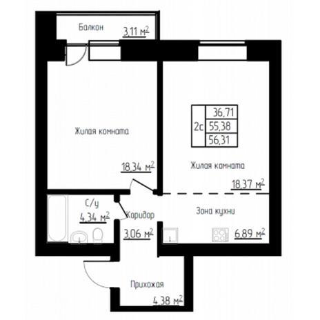 Вариант №4521, 2-комнатная квартира в жилом комплексе