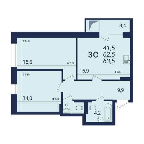 Вариант №3926, 3-комнатная квартира в жилом комплексе NOVA-дом