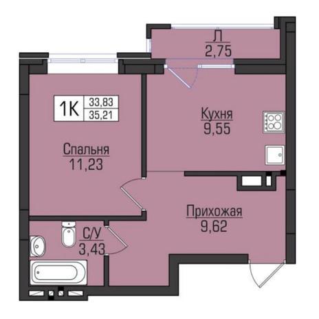Вариант №5101, 1-комнатная квартира в жилом комплексе
