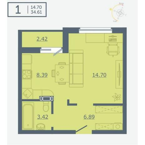 Вариант №4760, 1-комнатная квартира в жилом комплексе