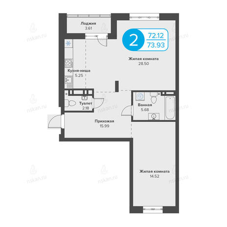 Вариант №2814, 2-комнатная квартира в жилом комплексе Огни Сибири