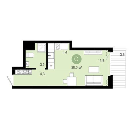 Вариант №4074, 1-комнатная квартира в жилом комплексе Европейский Берег