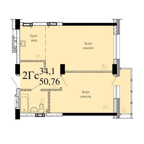 Вариант №6522, 2-комнатная квартира в жилом комплексе
