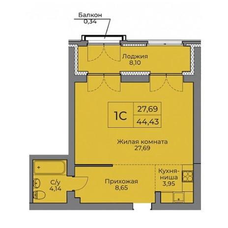 Вариант №3528, 1-комнатная квартира в жилом комплексе Родники