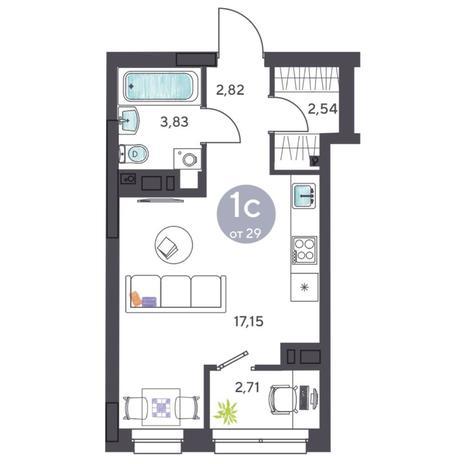 Вариант №5420, 1-комнатная квартира в жилом комплексе