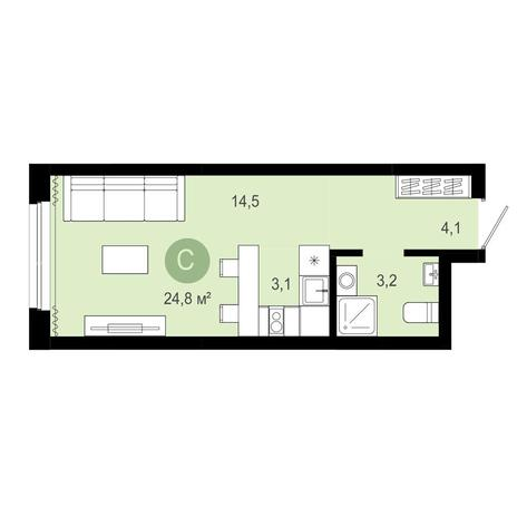 Вариант №4069, 1-комнатная квартира в жилом комплексе Заельцовский
