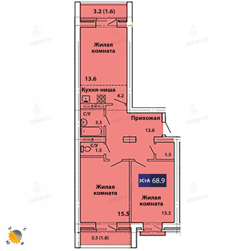 Планировка 3-комн. студия площадью 68.9 м<sup>2</sup> в ЖК Свобода