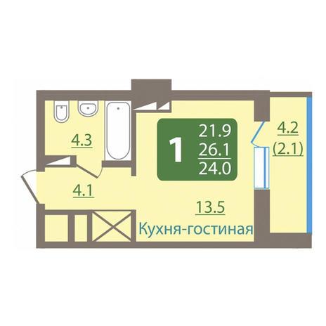 Вариант №3038, 1-комнатная квартира в жилом комплексе