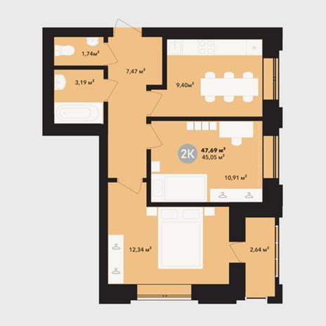 Вариант №5217, 2-комнатная квартира в жилом комплексе