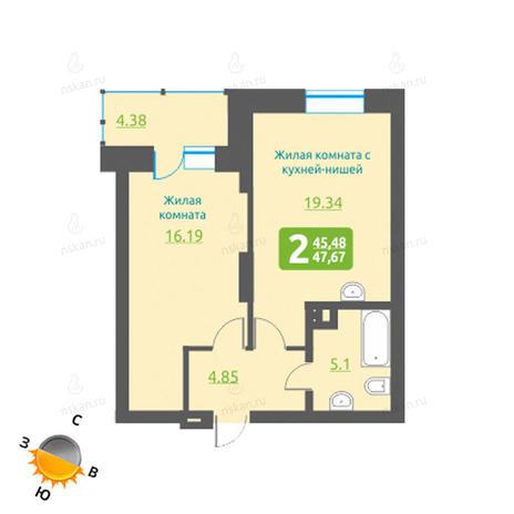 Вариант №1218, 2-комнатная квартира в жилом комплексе Марсель