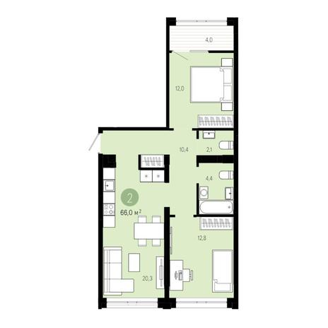 Вариант №4841, 3-комнатная квартира в жилом комплексе
