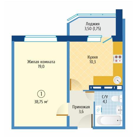 Вариант №6081, 1-комнатная квартира в жилом комплексе