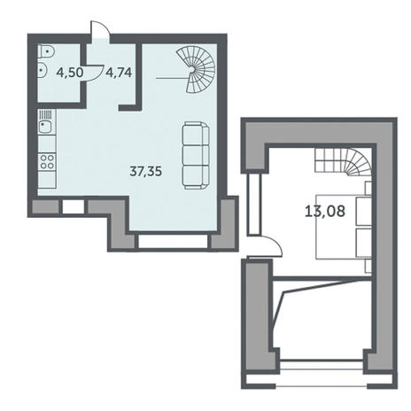 Вариант №3508, 1-комнатная квартира в жилом комплексе Спектр