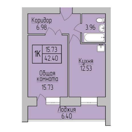 Вариант №5366, 1-комнатная квартира в жилом комплексе