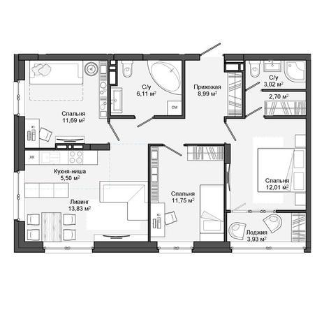 Вариант №3053, 4-комнатная квартира в жилом комплексе