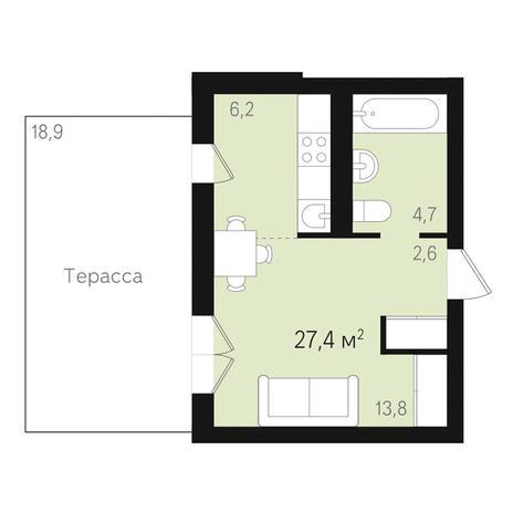 Вариант №3468, 3-комнатная квартира в жилом комплексе Дунаевский