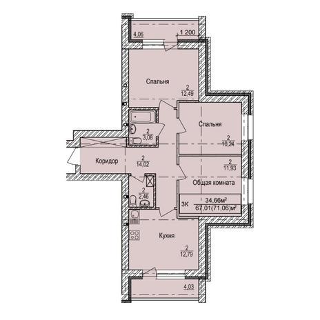 Вариант №6147, 3-комнатная квартира в жилом комплексе