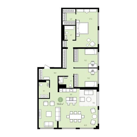 Вариант №5530, 5-комнатная квартира в жилом комплексе