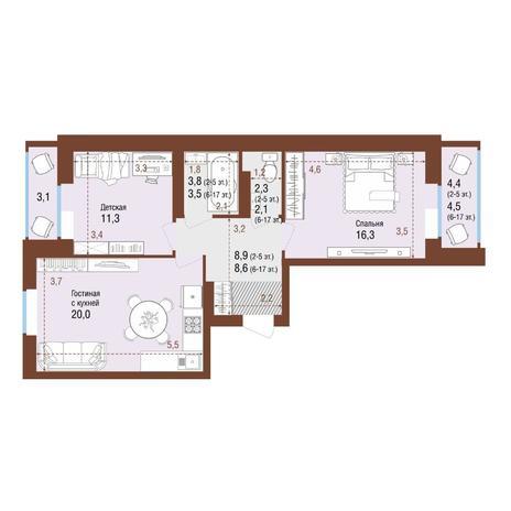 Вариант №4227, 3-комнатная квартира в жилом комплексе Чистая Слобода