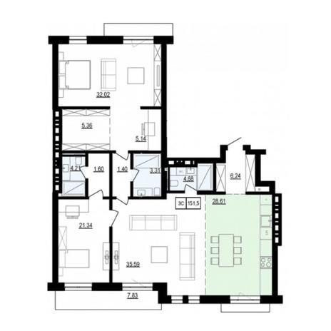 Вариант №6044, 3-комнатная квартира в жилом комплексе