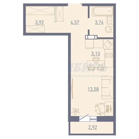Вариант №3751, 1-комнатная квартира в жилом комплексе