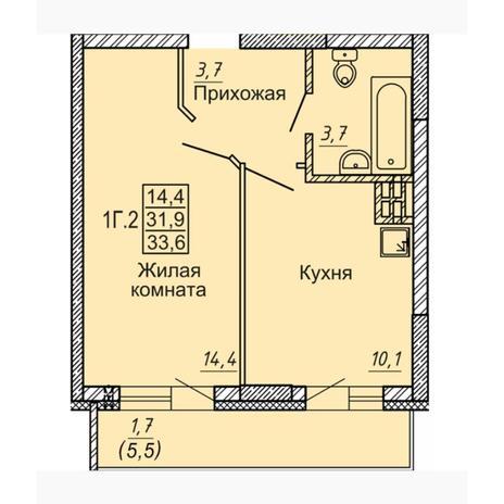 Вариант №4550, 1-комнатная квартира в жилом комплексе Новые Матрешки