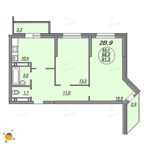 Вариант №2205, 2-комнатная квартира в жилом комплексе Матрешкин двор