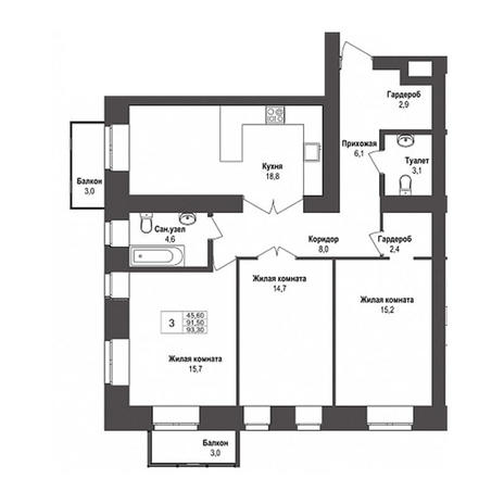 Вариант №3144, 3-комнатная квартира в жилом комплексе