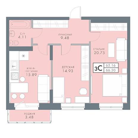Вариант №2835, 3-комнатная квартира в жилом комплексе Традиции