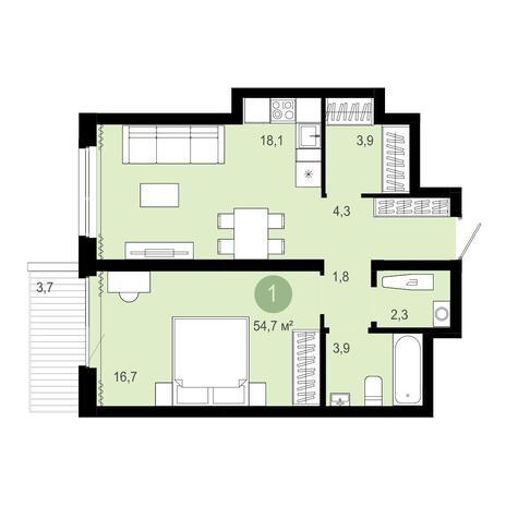 Вариант №4086, 2-комнатная квартира в жилом комплексе
