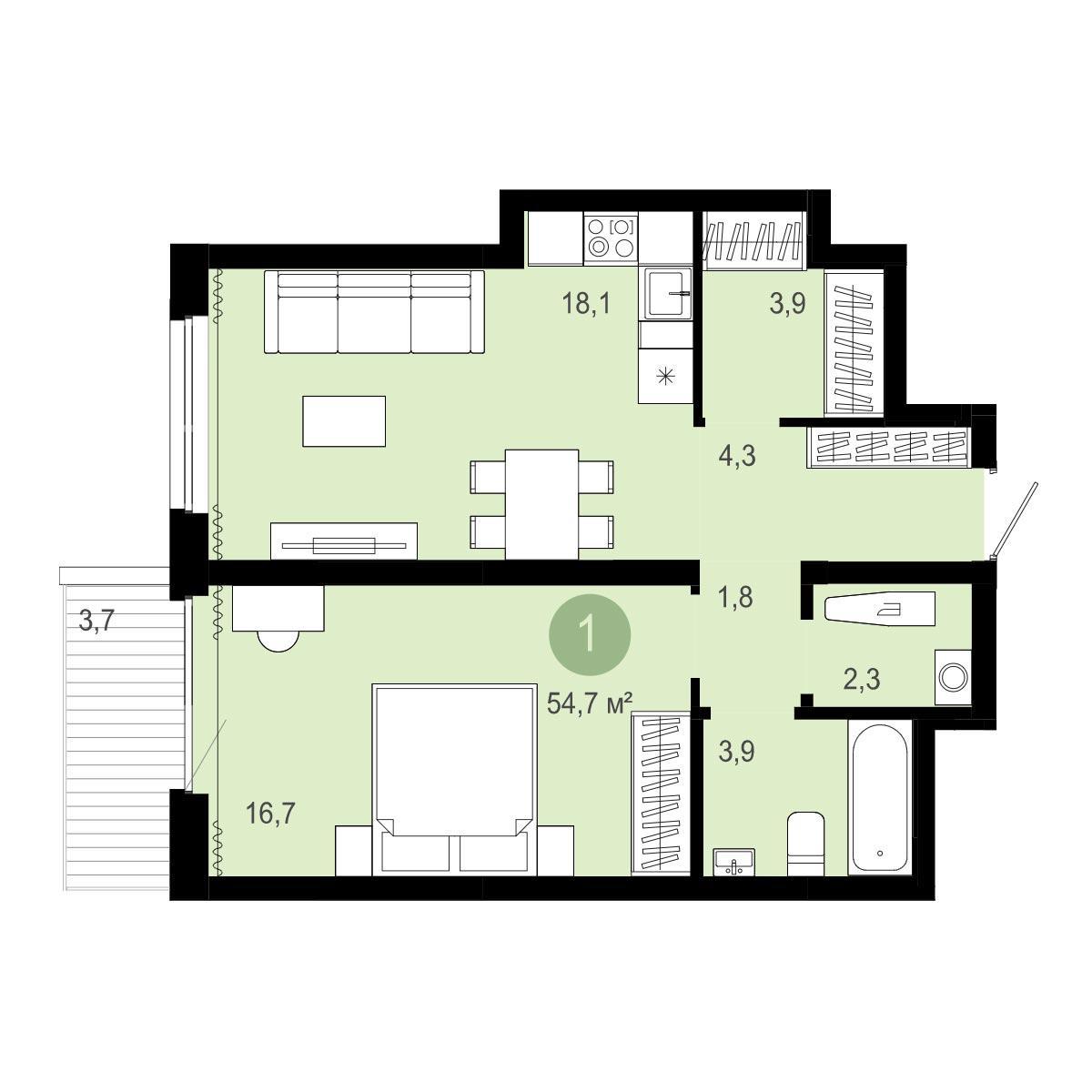 Планировка 2-комн. студия площадью 54.7 м<sup>2</sup> в ЖК Европейский Берег
