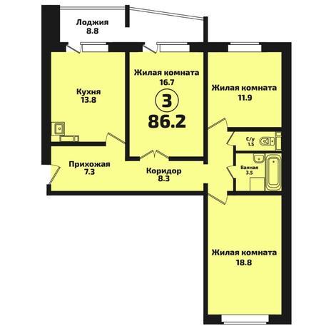 Вариант №4570, 3-комнатная квартира в жилом комплексе