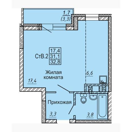 Вариант №4546, 1-комнатная квартира в жилом комплексе Новые Матрешки