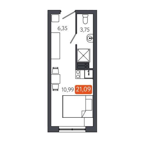 Вариант №6058, 1-комнатная квартира в жилом комплексе