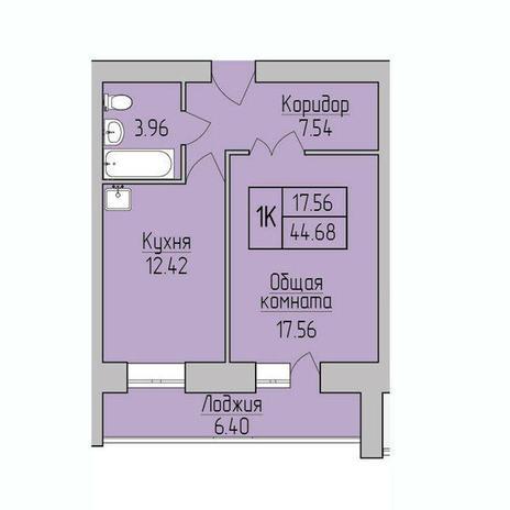 Вариант №3839, 1-комнатная квартира в жилом комплексе Дивногорский