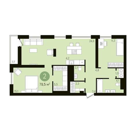 Вариант №3627, 3-комнатная квартира в жилом комплексе
