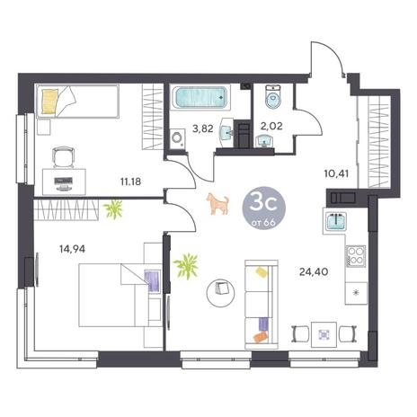 Вариант №5423, 3-комнатная квартира в жилом комплексе Ясный берег