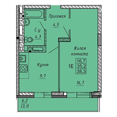 Вариант №3279, 1-комнатная квартира в жилом комплексе Родники