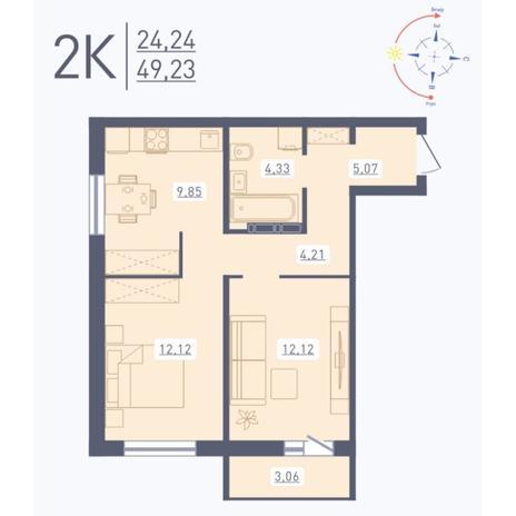 Вариант №5582, 2-комнатная квартира в жилом комплексе Венеция