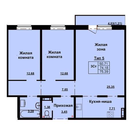Вариант №3166, 3-комнатная квартира в жилом комплексе Дунаевский