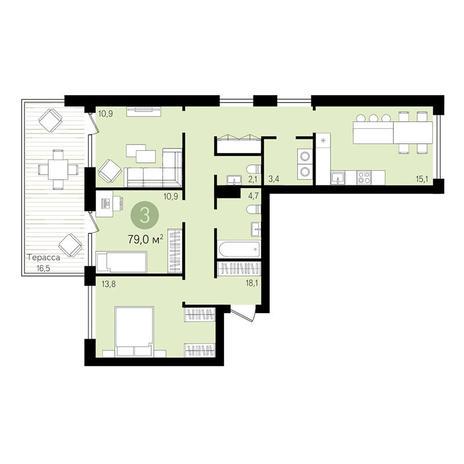 Вариант №3306, 3-комнатная квартира в жилом комплексе