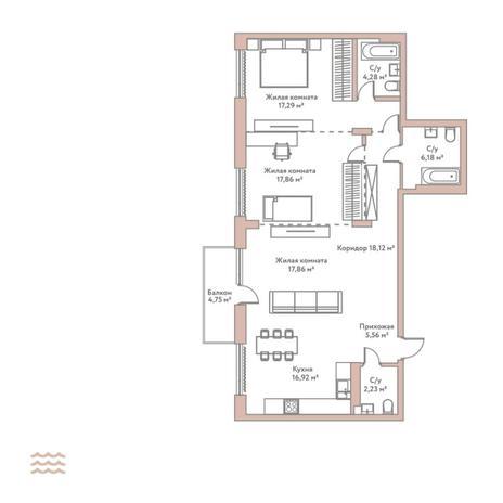 Вариант №5791, 3-комнатная квартира в жилом комплексе