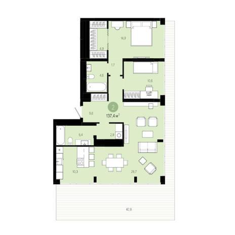 Вариант №6019, 3-комнатная квартира в жилом комплексе