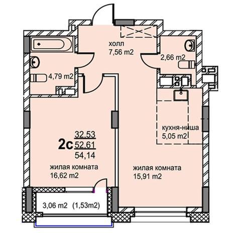 Вариант №5770, 2-комнатная квартира в жилом комплексе
