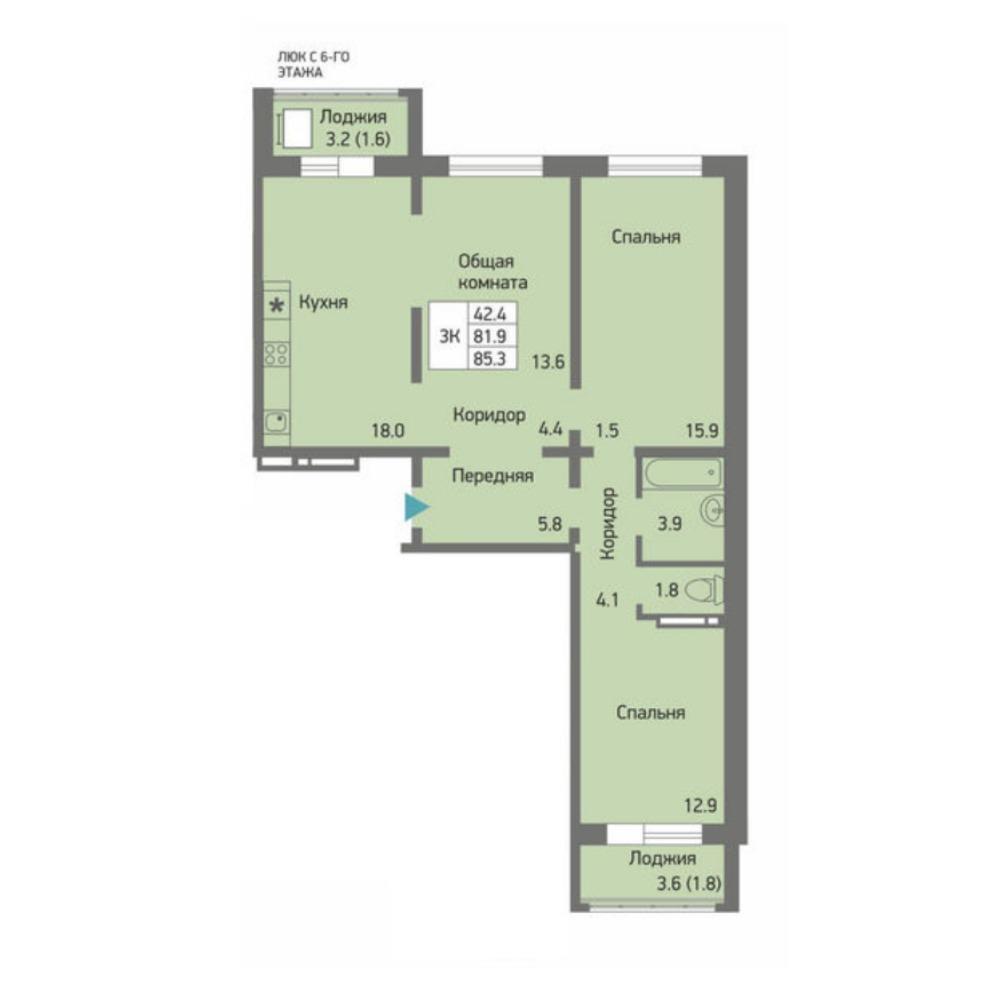 Планировка 3-комнатная площадью 85.3 м<sup>2</sup> в ЖК Акварельный 3.0