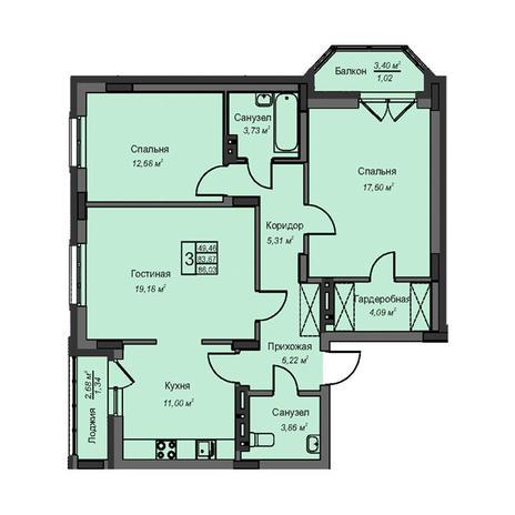 Вариант №3090, 3-комнатная квартира в жилом комплексе На Народной
